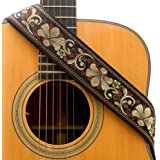 CLOUDMUSIC Guitar Strap Jacquard Weave Strap With Leather Ends Vintage Classical Pattern Design Picks Free (Vintage Classical