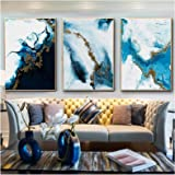 Ocean Blue Abstract Wall Art Picture Canvas Painting Poster Print Image Living Room Decoration (60x90cm)x3Pcs Frameless