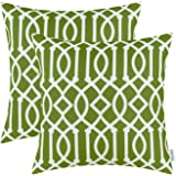 CaliTime Pack of 2 Cushion Covers Throw Pillow Cases Shells Both Sides Print Modern Geometric Figure 18 X 18 Inches Olive Gre