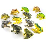 Fun Central AZ916 12 Pieces 3 Inch Toy Frogs Figure Fun Toys, Assorted Plastic Frog Animals Toys, Realistic Toy Frogs, Frog T