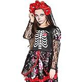 Girls Skeleton Costume Kids Halloween Zombie Bride Dress Cosplay