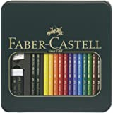 Faber-Castell Artists' Pencils Polychromos + Castell 9000 Pencils in Tin Box, Multicolor, (18-110040)