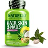 NATURELO Hair, Skin & Nails vitamins - 5000 mcg Biotin, Natural Collagen, Organic Vitamin C - Best Supplement for Faster Hair