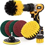 Holikme 6 Piece Drill Brush Attachment Set Scouring Pads Power Scrubber Brush Scrub Pads Cleaning Kit-All Purpose Cleaner for