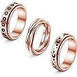 FIBO STEEL 3Pcs Stainless Steel Spinner Ring for Women Fidget Band Rings Moon Star Sand Blast Finish Ring Set for Stress Reli