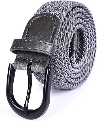 Univo Colors ベルト メッシュベルト フリーサイズ 編みベルト メンズ レディーズ 黒いパックル 伸縮性いい 男女兼用 カジュアル ビジネス 9色