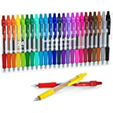 Colored Gel Pens, Lineon 24 Colors Retractable Gel Ink Pens with Grip, Medium Point(0.7mm) Smooth Writing Pens Perfect for Ad