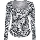 Women's Casual Cute Shirts Leopard Print Tops Long Sleeve Blouse