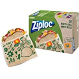 Ziploc Paper Sandwich and Snack Bags, Recyclable and Sealable with Fun Designs, 50 Count