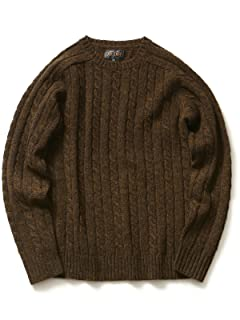 Cable Crewneck Sweater 11-15-0538-103: Brown