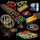 "JOYIN Glow Sticks Bulk 200 8"" Glowsticks (Total 456 PCs 7 Colors); Bracelets Glow Necklaces Glow-in-The-Dark Light-up July 4t"