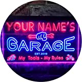 Personalized Your Name Est Year Theme Garage Man Cave Deco Dual Color LED Neon Sign Blue & Red 400 x 300mm st6s43-pp1-tm-br