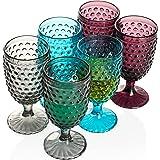 Hobnail Colorful Vintage Iced Beverage Goblet 13 oz. set of 6 Premiun Glass Set for Wine Soda & Juice Perfect for Dinner Part