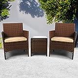 Outdoor Furniture Set Patio Garden 3 Pcs Chair Table Rattan Wicker Seat Setting