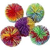 Hibery 5 Pack Monkey Stringy Balls, Soft Koosh Ball Stress Balls Monkey Balls, Sensory Fidgets Toys, Rainbow Pom Ball, Colorf