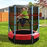 Everfit 4.5FT Trampoline for Kids w/Enclosure Safety Zipper Net Pad Outdoor Indoor Small Mini Rebounder Children Gift (3-8 Ye