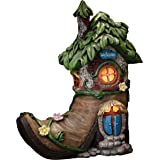 TERESA'S COLLECTIONS 8.5 Inch Fairy House Garden Statues with Boots, Solar Powered Garden Lights for Outdoor Patio Yard Decor