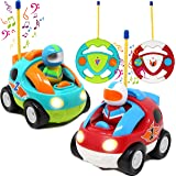 2 Pack Cartoon RC Race Car Radio Remote Control with Music & Sound Toy for Baby, Toddler, Children Cars, School Classroom Pri
