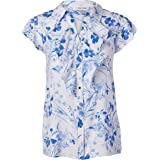 CALVIN KLEIN Women's Printed Short Sleeve Ruffle Front Top