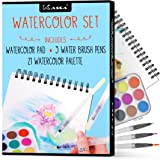 Kassa Watercolour Set - Includes Water Brush Pens (3 Assorted Sizes), Painting Pad (30 Sheets) & Paint Pan (21 Watercolors) -