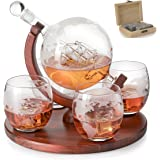 Etched World Decanter whiskey Globe - The Wine Savant Whiskey Gift Set Globe Decanter with Antique Ship, Whiskey Stones and 4
