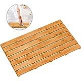 Bamboo Wooden Bath Floor Mat for Luxury Shower - Non-Slip Bathroom Waterproof Carpet for Indoor or Outdoor Use (31.3 x 18.1 x