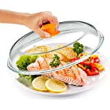 Bezrat Microwave Glass Plate Cover   Splatter Guard Lid with Easy Grip Silicone Handle Knob   100% Food Grade   BPA Free and