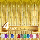 BTSD-home Gold Foil Fringe Curtain, Metallic Photo Booth Backdrop Tinsel Door Curtains for Wedding Birthday Bridal Shower Bab