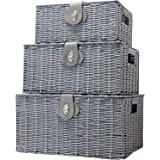 ViDiStorex Set of Three Resin Woven Storage Basket Box with Attached Lid & Lock, White, Large, Medium and Small. Decorative 3