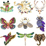 Hicarer 9 Pieces Women Brooch Set Animal Insect Brooches Crystal Pin for Women Girls