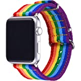 Rainbow Wristband for Apple Watch 38MM Bandmax High Quality Watch Strap Comfortable Denim Fabric Replacement Band for Apple W