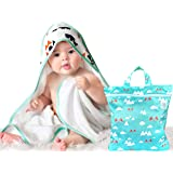 Extra Soft Baby Towel with Hood & Custom Wet Dry Bag | 100% Premium Hypoallergenic & Organic Bamboo Hooded Baby Towel