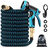 Amayrose Garden Hose Expandable Water Hose with 9 Function Spray Nozzle, Leakproof Expanding Flexible Outdoor Yard Hose with
