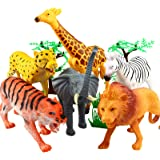Animal Figure,8 Inch Jumbo Jungle Animal Toy Set(12 Piece),Yeonha Toys Realistic Wild Vinyl Animal For Kids Toddler Child,Pla