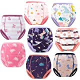 MooMoo Baby 8PCS Washable Toddler Underwear Incontinence Pants,Cotton Toilet Training Pants Cloth Nappies,Kids Boy and Girls