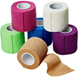 MEDca Self Adherent Cohesive Wrap Bandages 2 Inches X 5 Yards 6 Count FDA Approved (Rainbow Color)