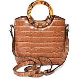 Charming Charlie Women's Croco Crossbody Handbag - Tort Handle, Adjustable Sling Strap - Zipper Closure
