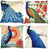 Peacock Decorative Throw Pillow Covers Set of 4, ZUEXT Home Decor Throw Pillowcases, Cotton Linen Cushion Cover Cases for Cou