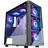 MUSETEX ATX Mid Tower Gaming Computer Case 6 RGB LED Fans 2 Translucent Tempered Glass Panels USB 3.0 Port,Cable Management/A