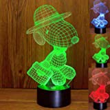Snoopy Lamp 3D Optical Illusion Snoopy LED Nightlight Touch Switch Snoopy Desk Lamp with 7 Changing Colors, Acrylic Flat Lamp