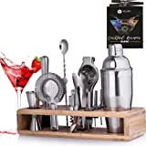 Mixology Bartender Kit with Stand - 24 oz Professional Cocktail Shaker Set - Home Bar Set Cocktail Shaker 12 Pieces Barware S