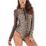 Ayliss Women Leopard Print Bodysuit Long Sleeve Jumpsuits Tops Bodycon Zipper Up Shapewear Blouse
