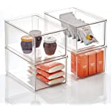 mDesign Plastic Stackable Kitchen Storage Box with Pull-Out Drawer - Container for Kitchen, Pantry, Cabinet, Fridge/Freezer -