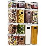 Wildone Airtight Food Storage Containers - BPA Free Cereal & Dry Food Storage Containers Set of 14 for Sugar, Flour, Snack, B
