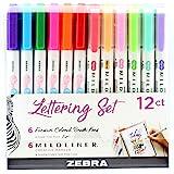 Zebra Pen Lettering Set, Includes 6 Mildliner Highlighters and 6 Super Fine Brush Pen, Assorted Colors, 12 Pack