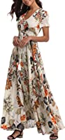 VintageClothing Women's Floral Print Maxi Dresses Boho Button Up Split Beach Party Dress