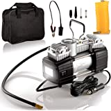 Portable Double Cylinder Air Compressor Tire Inflator with LED Flashlight, 12V Compact Air Pump for Car Tires, 150 PSI Heavy-