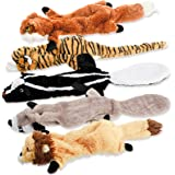 Dog Squeaky Toys, No Stuffing Plush Chew Toy for Small Medium Dogs Puppy Aggressive Chewers Large Breed, 5 Pack Cute Animals