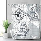Riyidecor Nautical Sailboat Map Shower Curtain Panel Weighted Hem Grey Boat Sketch Ship Wheel Compass Anchor Decor Fabric Set