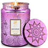 Scented Candles,18 oz Soy Wax Lavender Aromatherapy Candle with Embossed Glass Jar,Women Gifts Candle for Valentine's Day,Bir